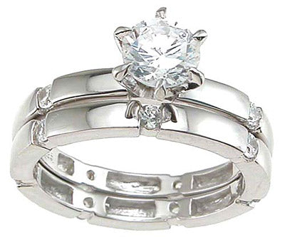 925 sterling silver rhodium finish cz solitaire engagement set ring tiffany style 1 2 ct
