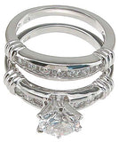 925 sterling silver rhodium finish cz fashion engagement set ring solitaire