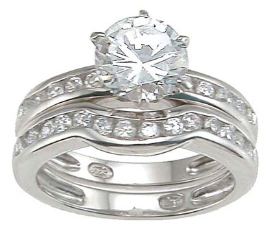 925 sterling silver rhodium finish cz solitaire engagement set ring tiffany style 1 1 2 ct