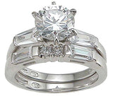 925 sterling silver rhodium finish cz fashion engagement set ring tiffany style