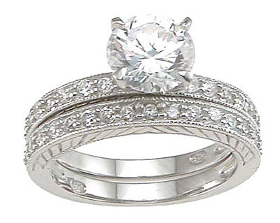925 sterling silver rhodium finish cz solitaire engagement set ring solitaire