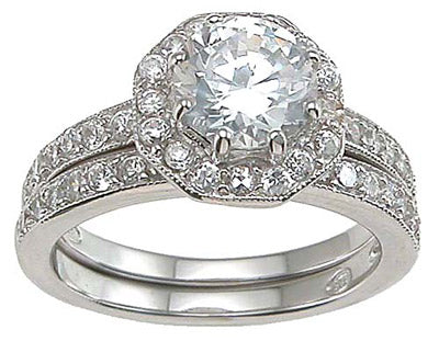 925 sterling silver rhodium finish cz antique style engagement set ring tiffany style 1 1 2 ct
