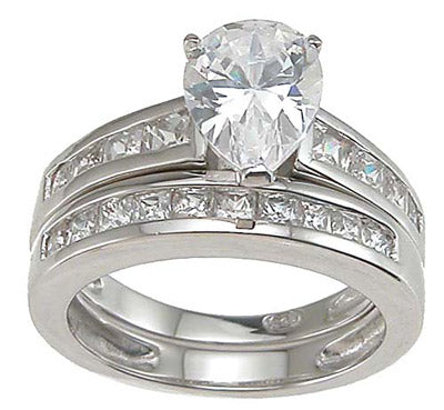 925 sterling silver rhodium finish cz pear shape wedding set ring