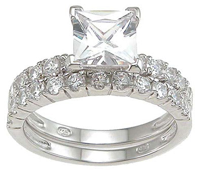 925 sterling silver rhodium finish cz princess engagement set ring tiffany style 1 1 2 ct