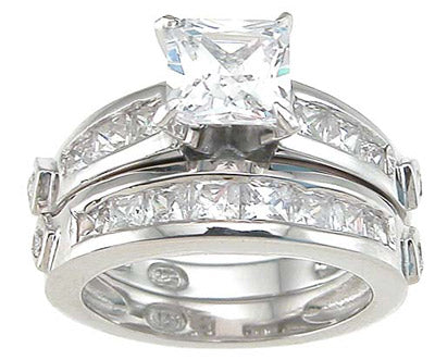 925 sterling silver rhodium finish cz princess wedding set ring tiffany style