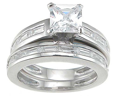 925 sterling silver rhodium finish cz princess engagement set ring tiffany style 1 3 4 ct