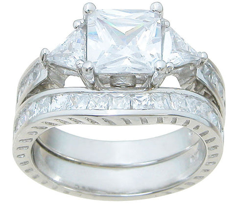 925 sterling silver wedding ring set prong 4 5 ct