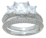 925 sterling silver three stone wedding ring set prong pave 3 ct