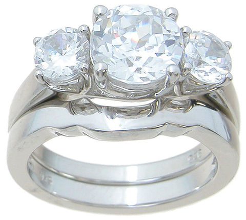 925 sterling silver three stone wedding ring set prong setting 3 ct