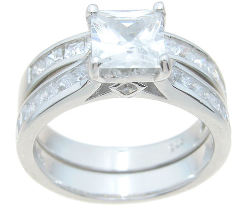 925 sterling silver princess engagement ring set