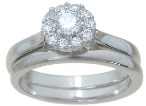 925 sterling silver halo engagement ring set 1 2 ct