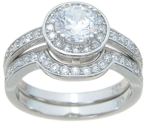 925 sterling silver halo engagement ring set 1 ct