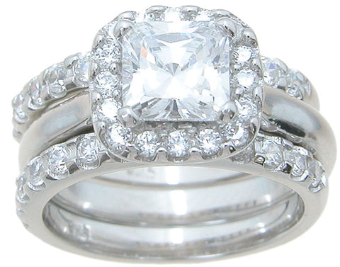 925 sterling silver halo engagement ring set 2 25 ct