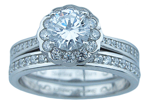 3 4ct brilliant 925 silver sterling couture flower wedding ring set