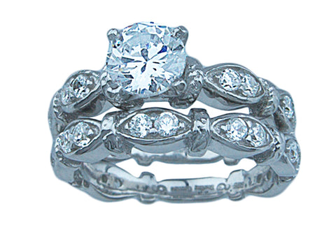 3 4ct brilliant 925 silver sterling couture wedding ring set