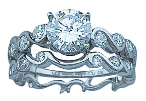 1 25ct brilliant 925 silver sterling couture engagement ring set