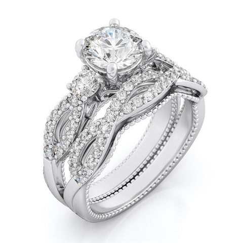925 sterling silver wedding set prong pave 2ct