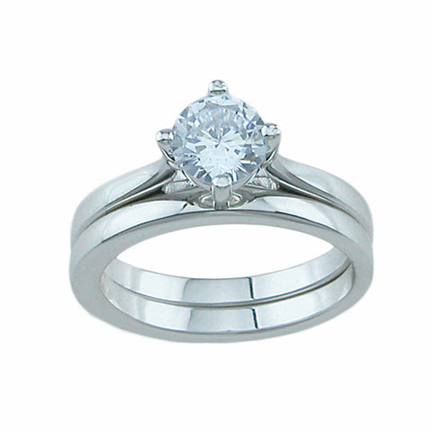 925 sterling silver wedding set prong 1ct