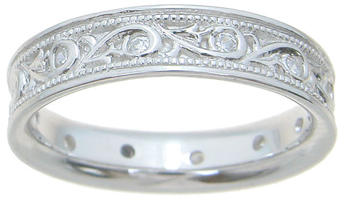 925 sterling silver wedding band unisex wedding band 1 4 ct