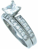 stainless steel wedding set 6x6 mm 2 25ct