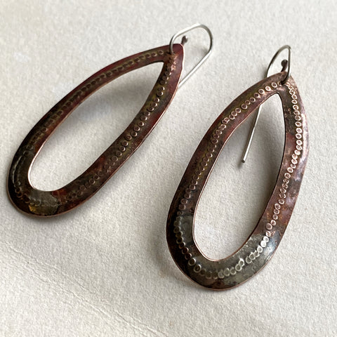 Hand made cut out copper sterling silver teardrop earrings