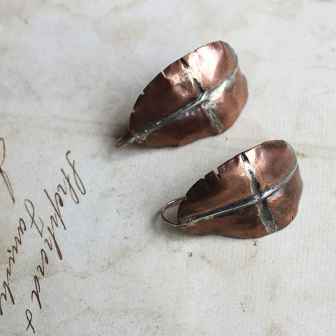 Hot Cross Copper Earrings