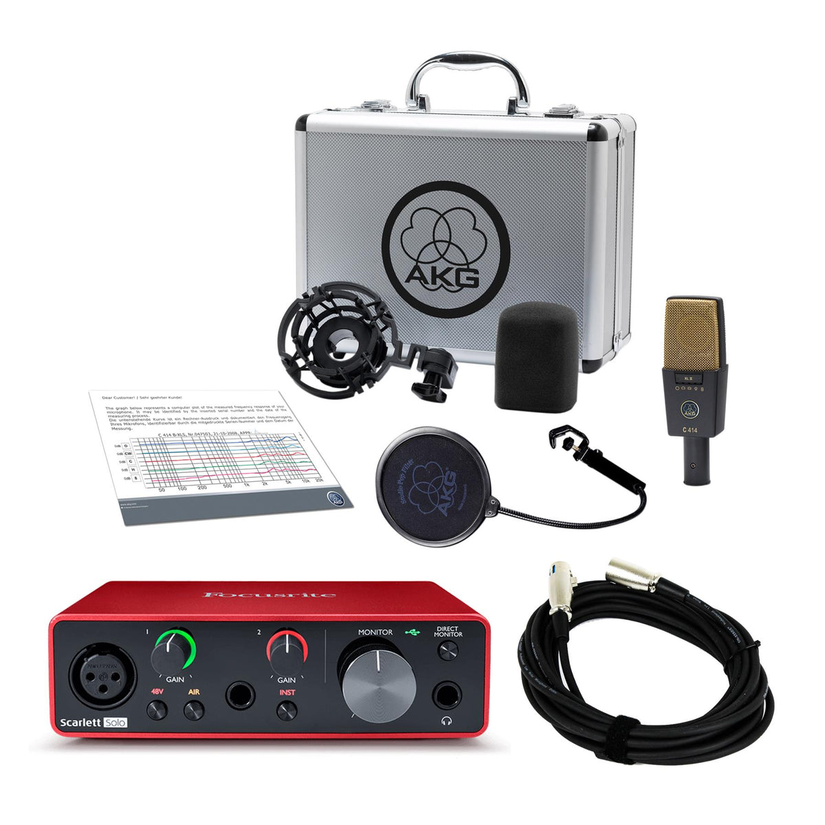 AKG C414 XLII Microphone Bundle with Focusrite Scarlett Solo (3rd Gen) & 20-foot XLR Cable