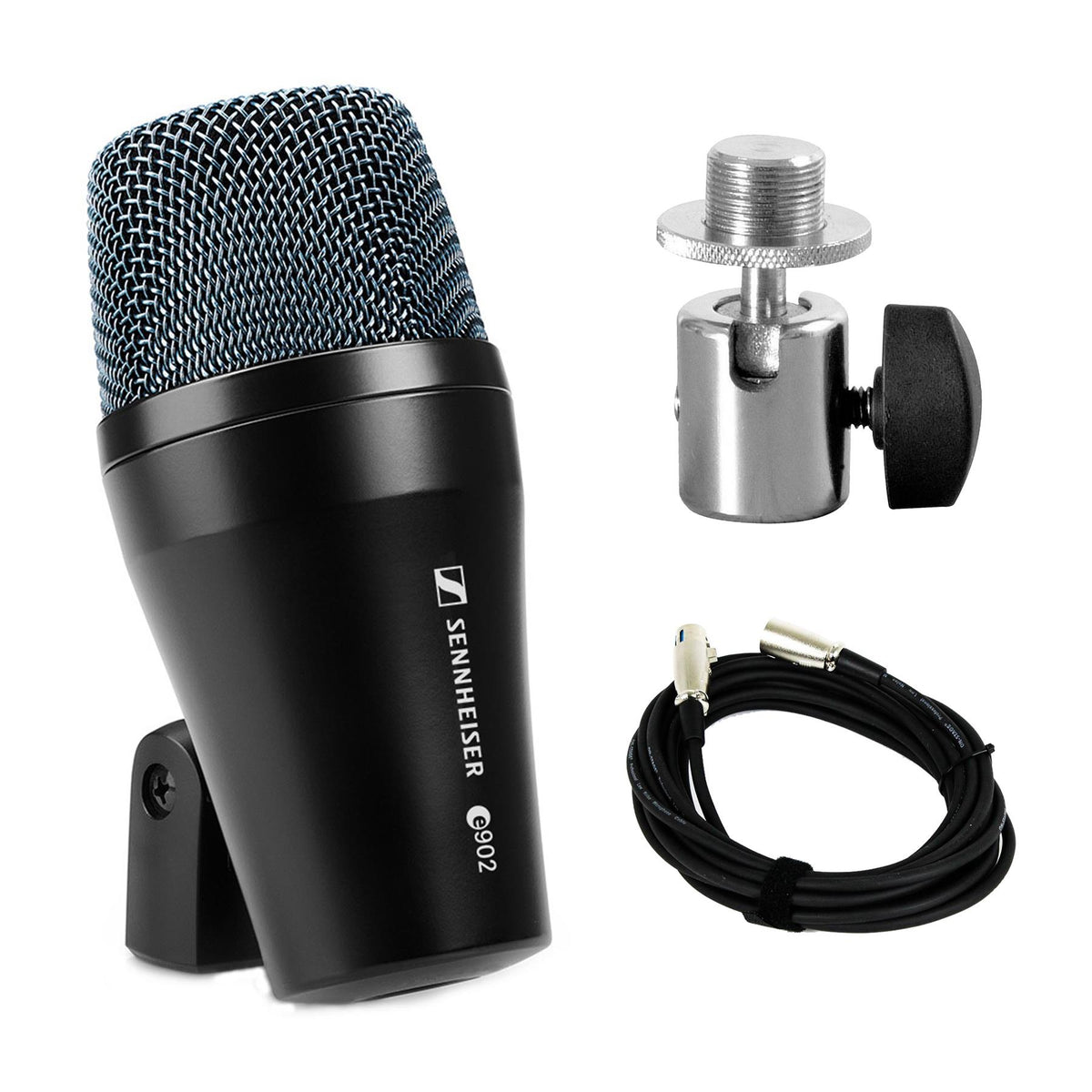 Sennheiser e902 Microphone Bundle with On-Stage MM01 Ball Joint Adapter & XLR Cable