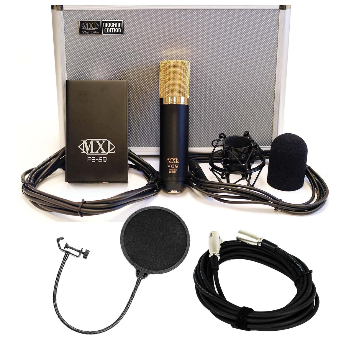 MXL V-69M-EDT Microphone Bundle with 20-foot XLR Cable & Pop Filter