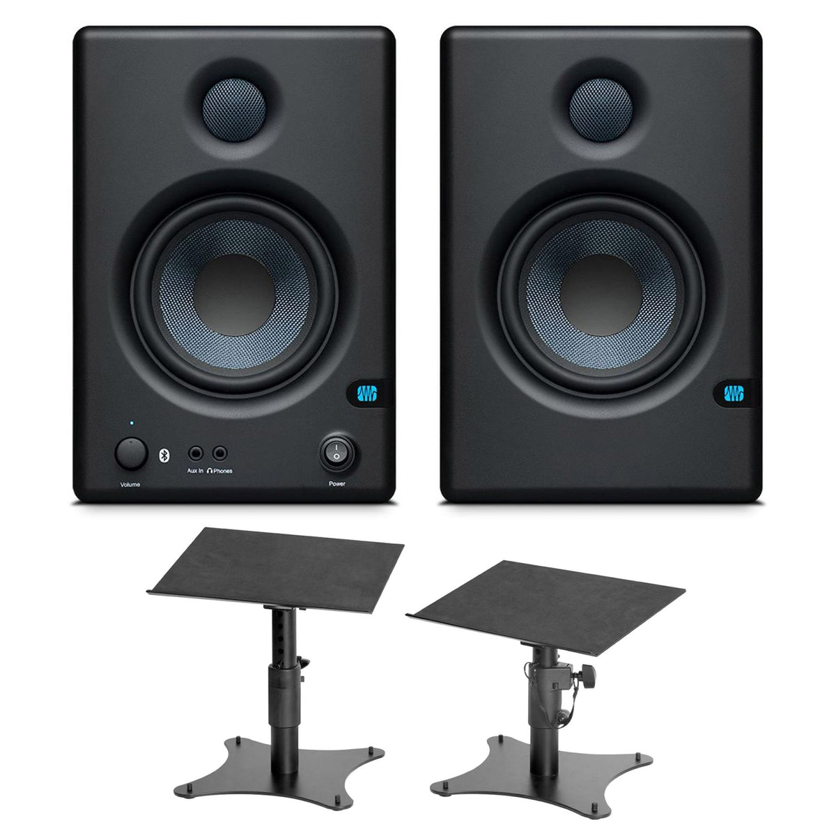 PreSonus E4.5 BT Studio Monitor Pair w/ On-Stage SMS4500P Stands Bundle