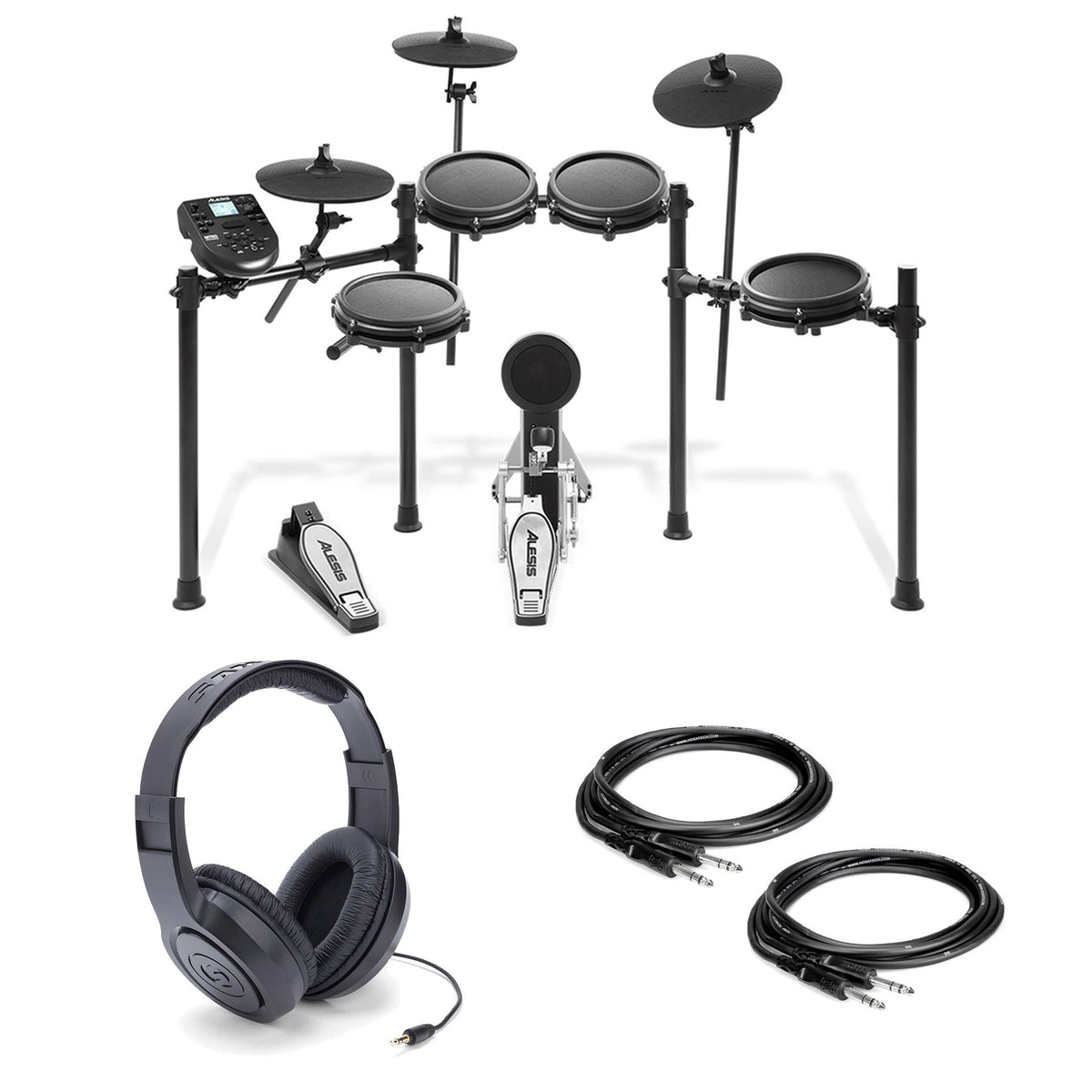 Alesis Nitro Mesh Kit w/ Samson SR350 Headphones and 2 Hosa TRS Cables Bundle