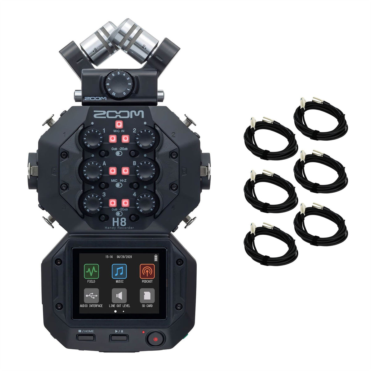 Zoom H8 Handy Recorder w/ 6 20-foot XLR Cables Bundle