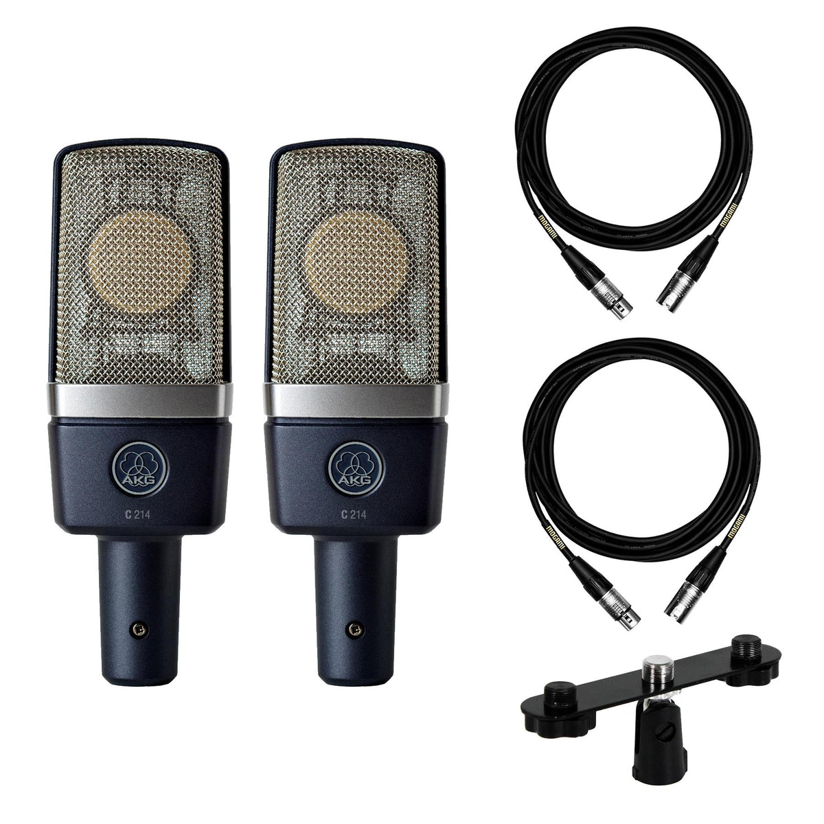 AKG C214 Microphone Stereo Pair Bundle with Stereo Bar & 2 Premium 15-foot XLR Mogami Cables