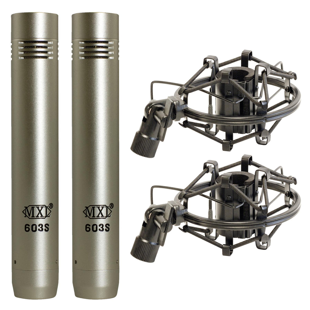 MXL 603 Instrument Microphone Stereo Pair w/ Shockmounts & Case SDC Set