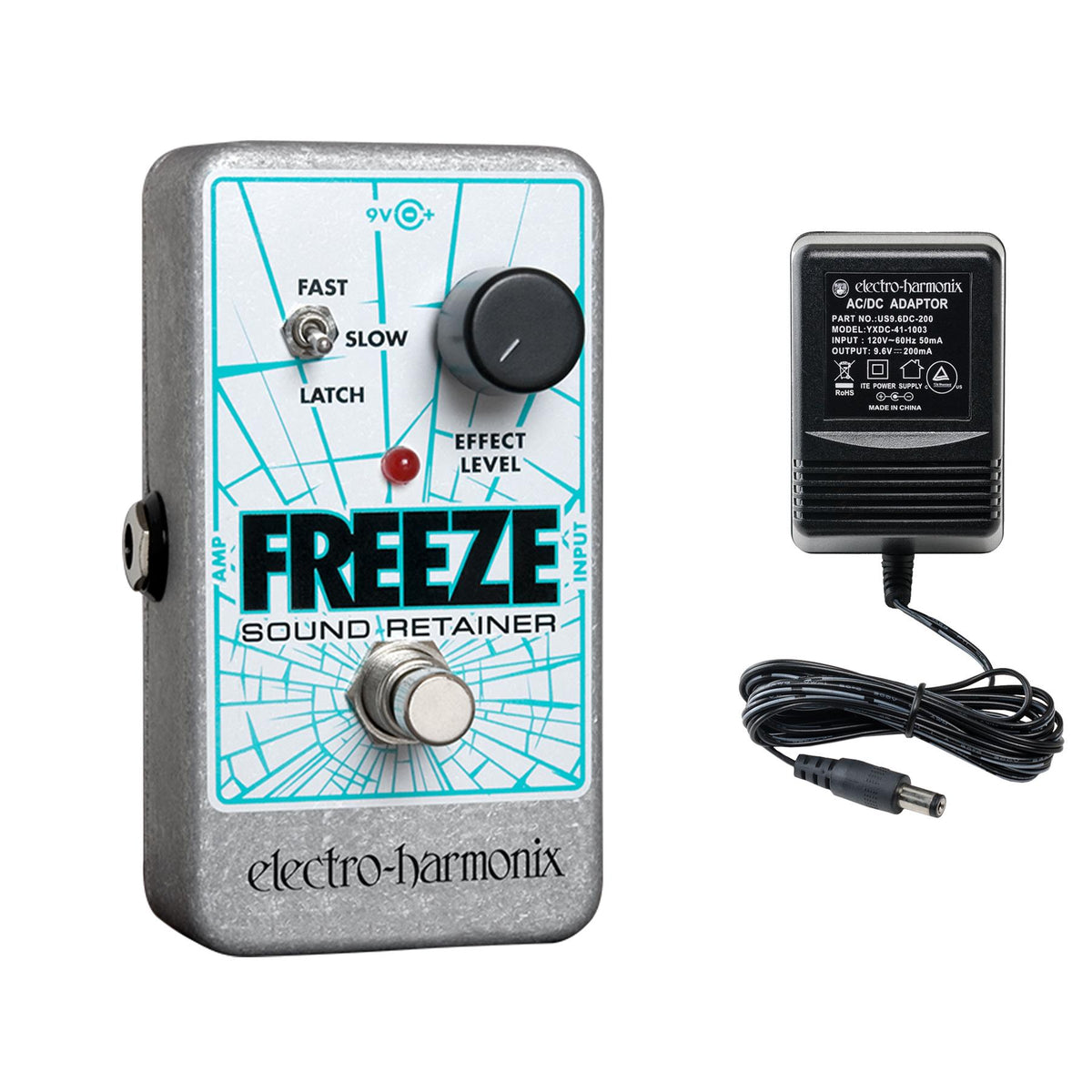 Electro-Harmonix Freeze Infinite Sustain Guitar Effects Pedal with 9.6V Power Supply