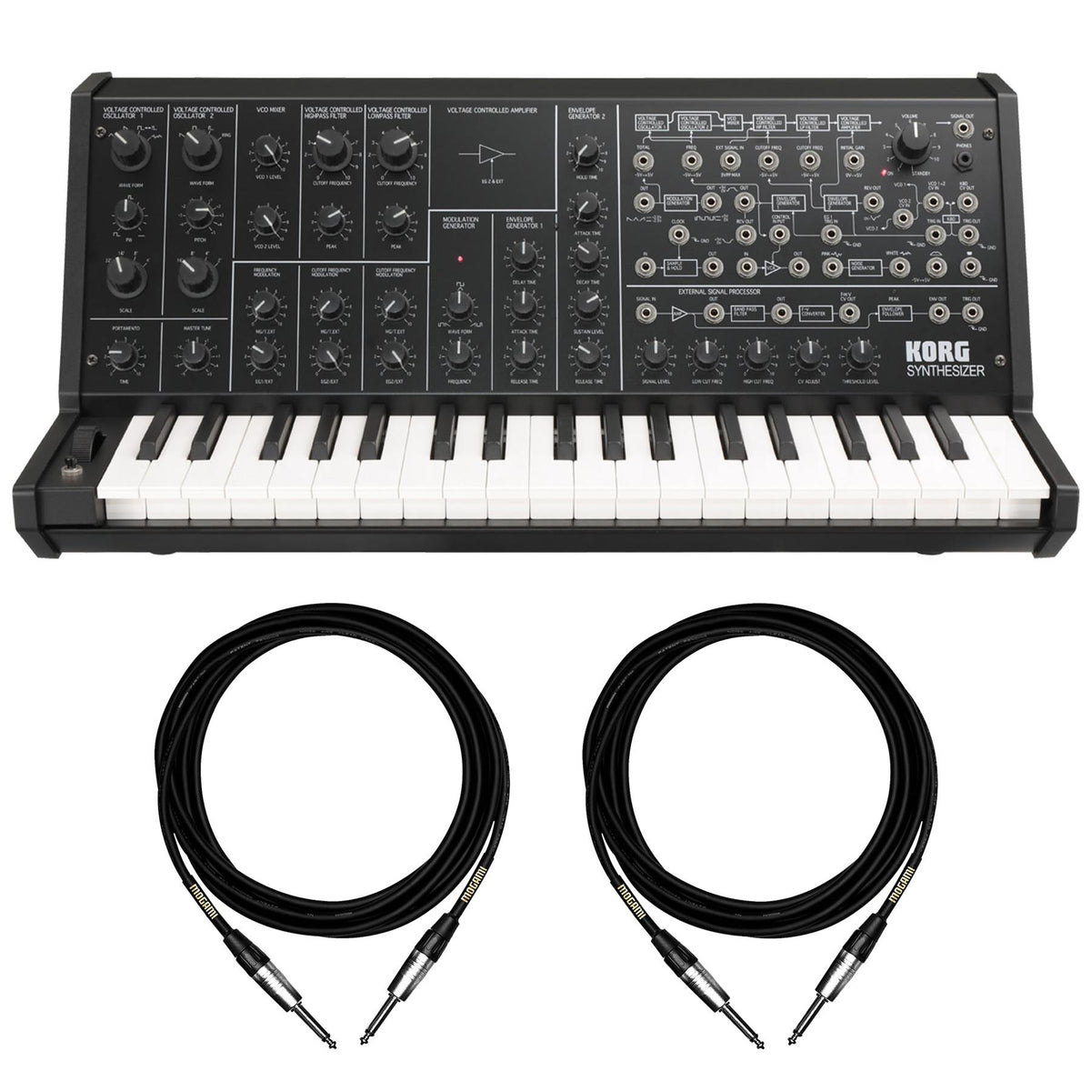 "Korg MS20 Mini Synthesizer Bundle with 2 10-foot Mogami 1/4"" Instrument Cables"