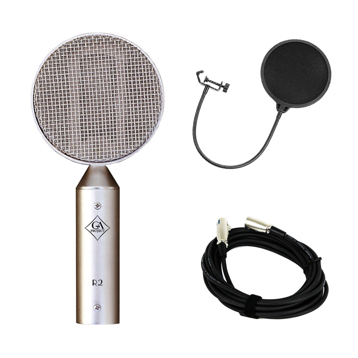 Golden Age Project R2 MK2 Ribbon Microphone Bundle with XLR Cable &Pop Filter