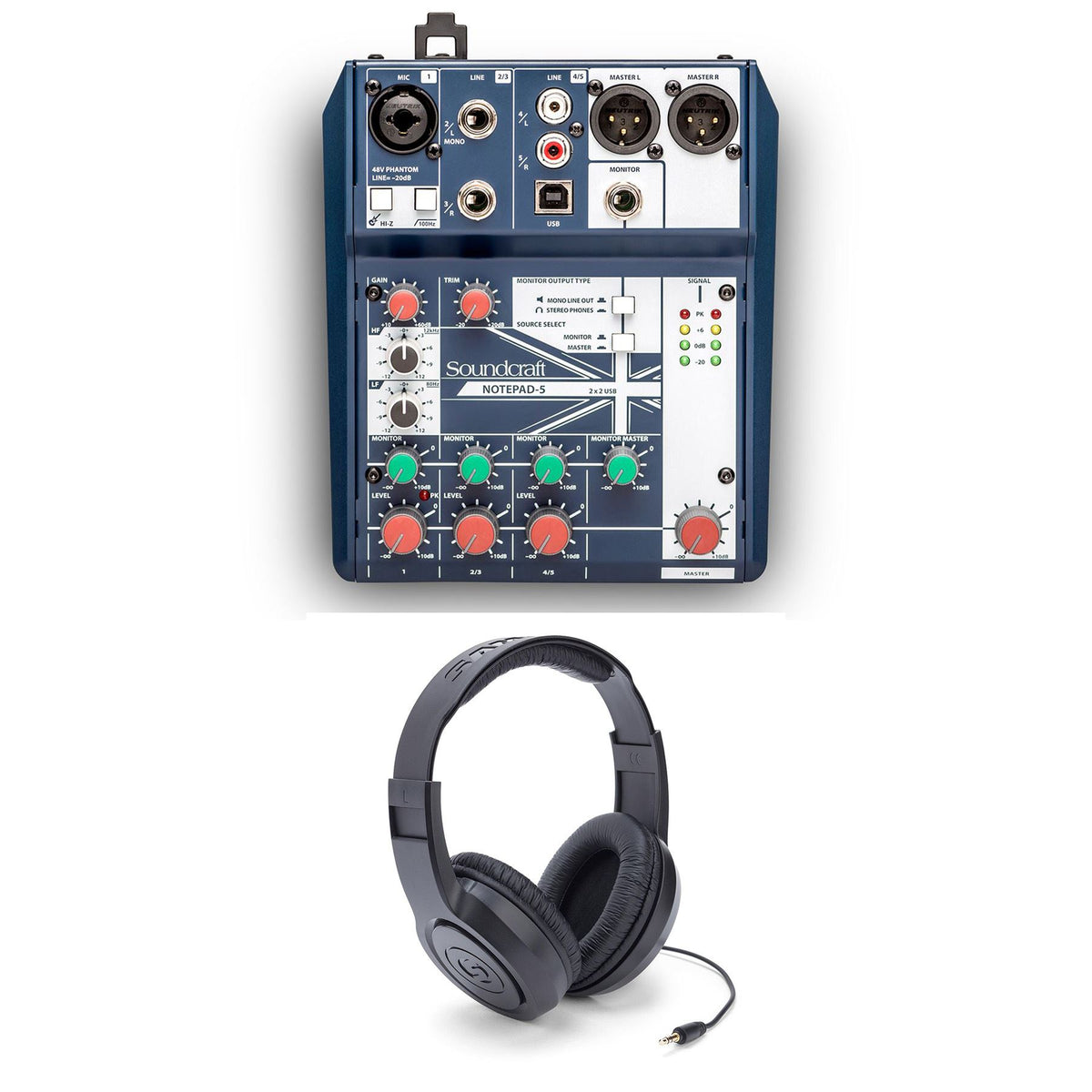 Soundcraft Notepad 5 Mixer w/ Samson SR350 Headphones Bundle