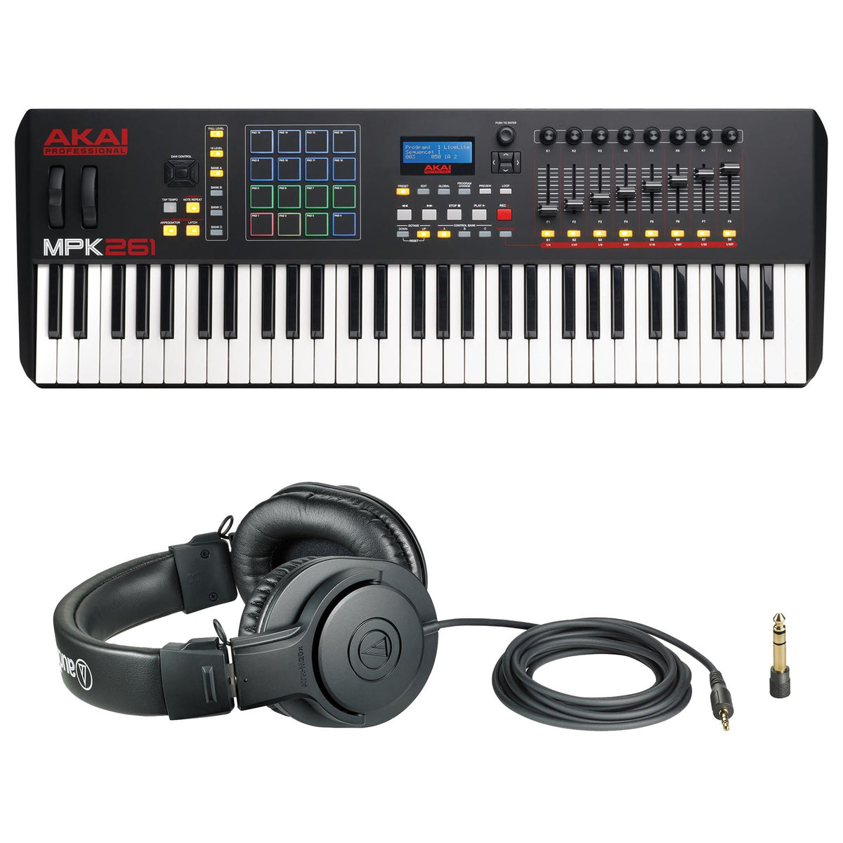 Akai MPK261 USB Keyboard Controller Bundle with Audio-Technica ATH-M20x Headphones