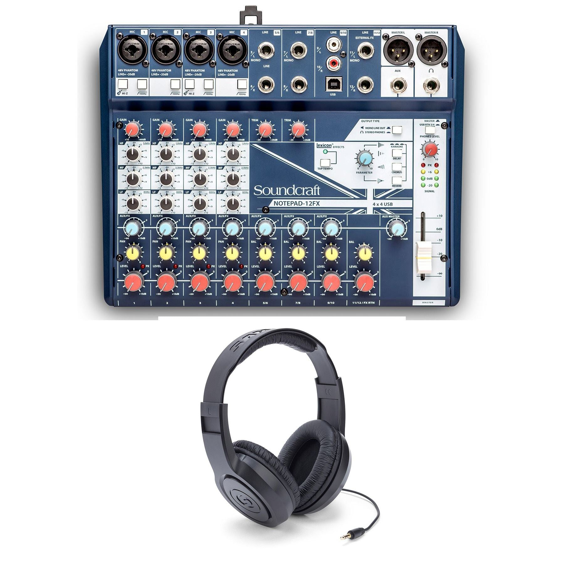 Soundcraft Notepad 12FX Mixer w/ Samson SR350 Headphones Bundle