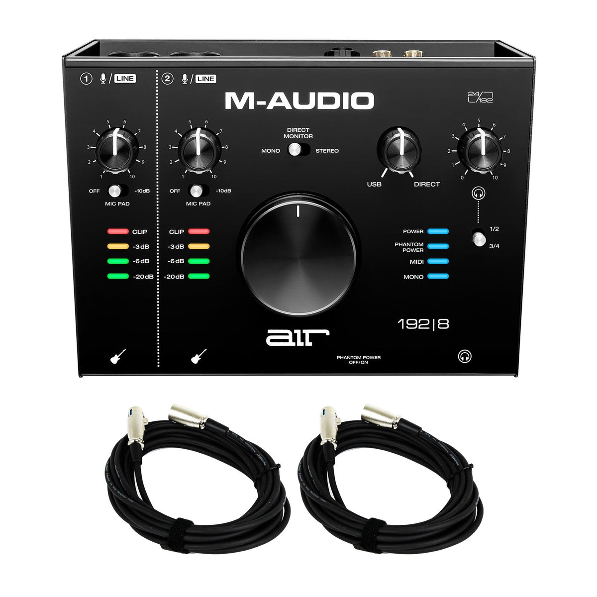 M-Audio Air 192|8 USB Interface Bundle with 2 20-foot XLR Cables