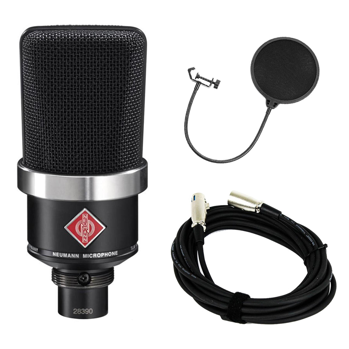 Neumann TLM 102 Black Microphone Bundle with 20-foot XLR Cable & Pop Filter