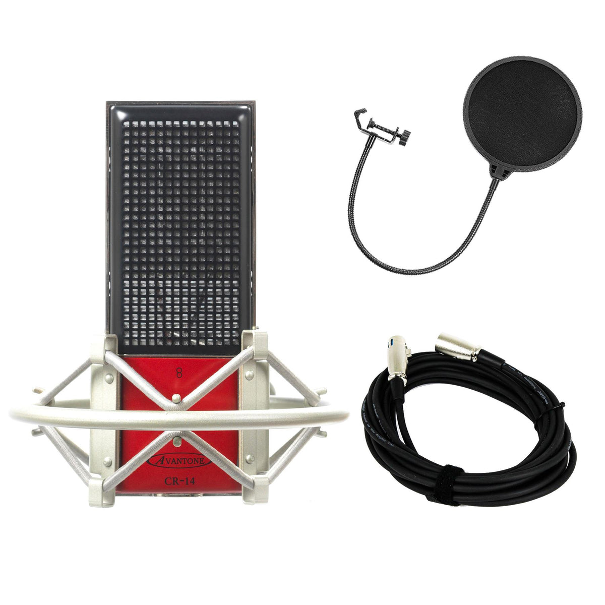 Avantone Pro CR14 Microphone Bundle with 20-foot XLR Cable & Pop Filter