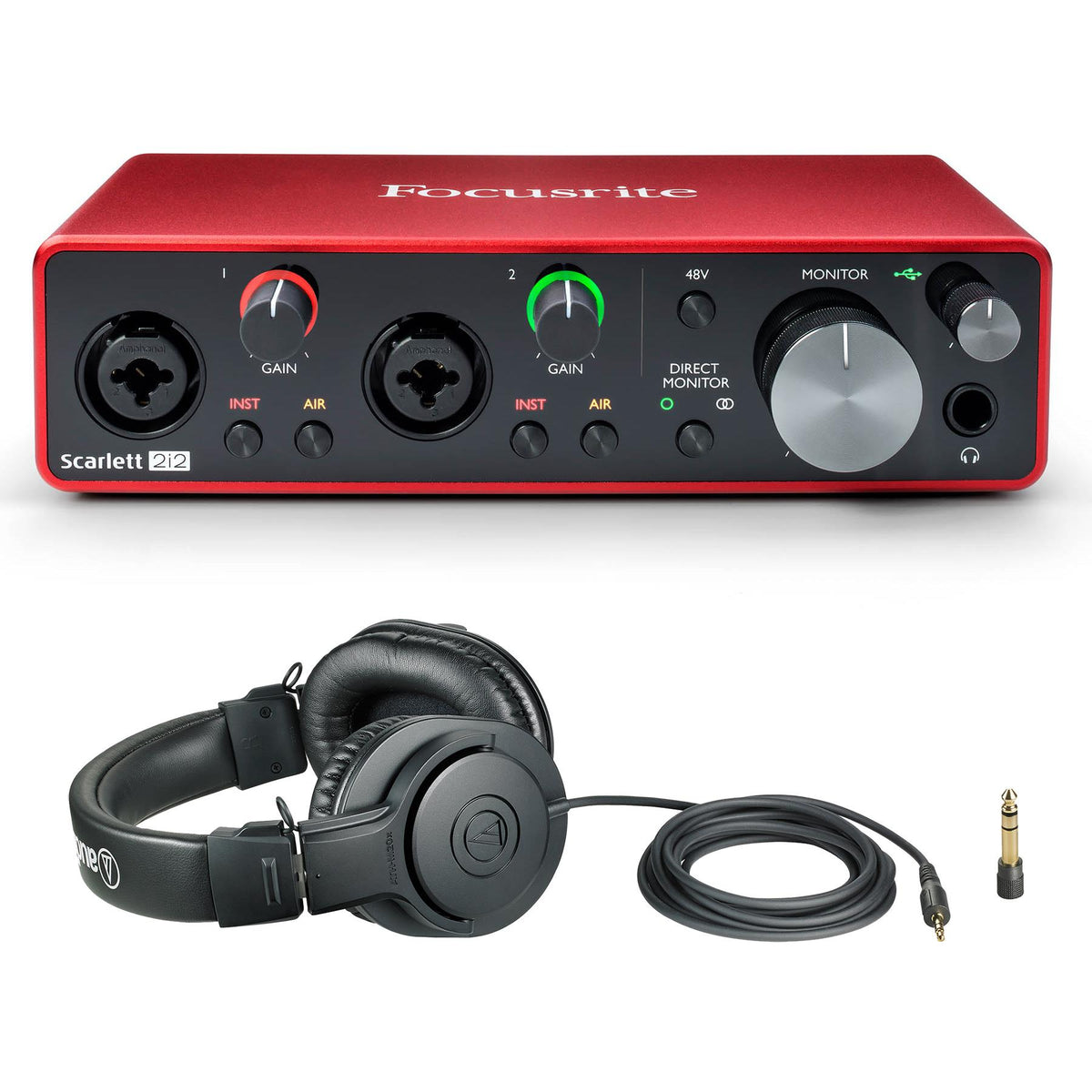 Focusrite Scarlett 2i2 3rd Gen Bundle with Audio-Technica ATH-M20x Headphones