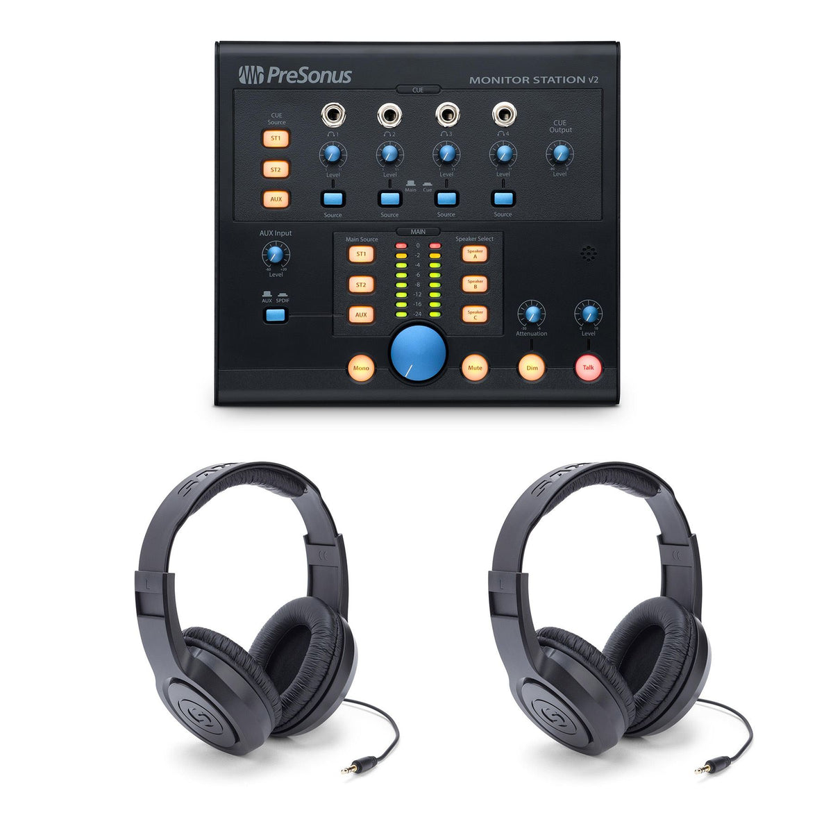 PreSonus Monitor Station V2 w/ 2 Samson SR350 Headphones Bundle