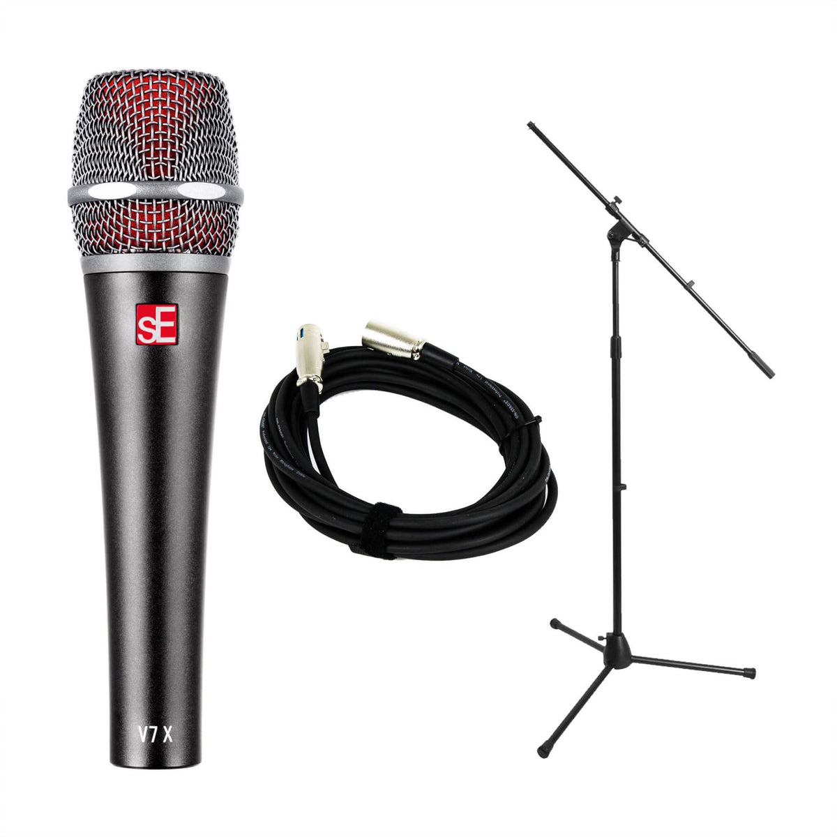 sE Electronics V7-X Microphone w/ Mic Stand & 20-foot XLR Cable Bundle