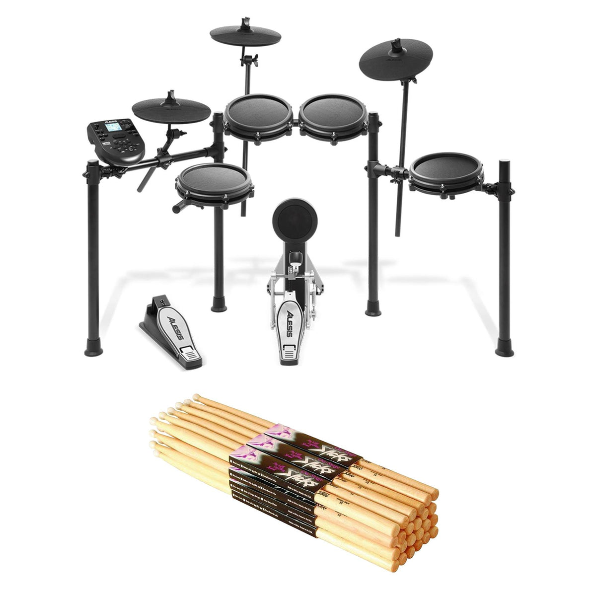 Alesis Nitro Mesh Kit Bundle with 12-pack of MN5B Drum Sticks