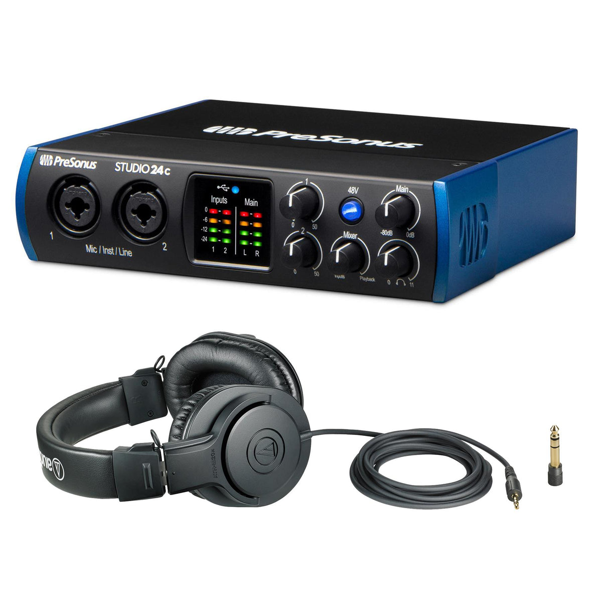 PreSonus Studio 24C USB Interface w/ Audio-Technica ATH-M20x Headphones Bundle