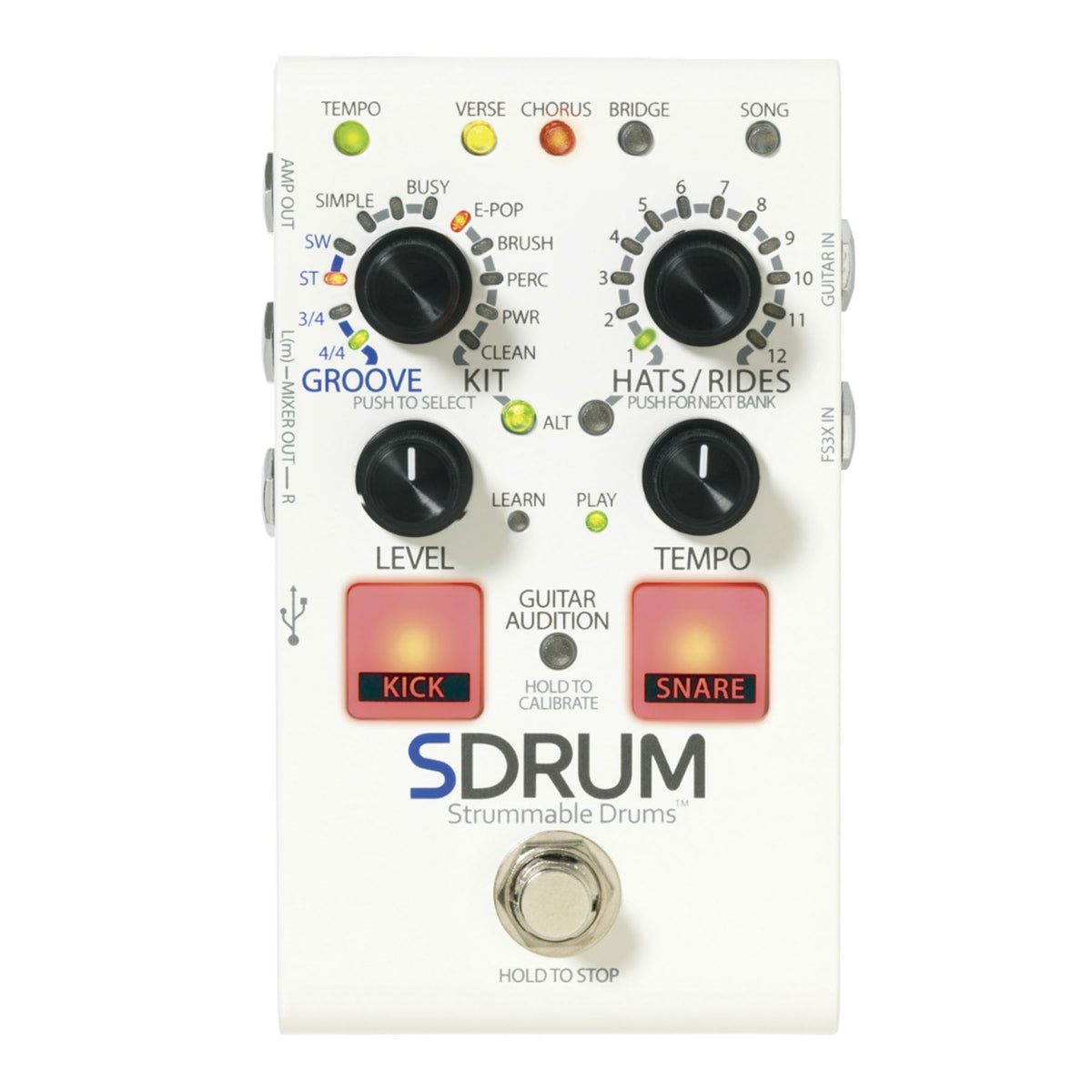 Digitech SDRUM Strummable Drums Effect Pedal w/ 2 TS Cables Bundle