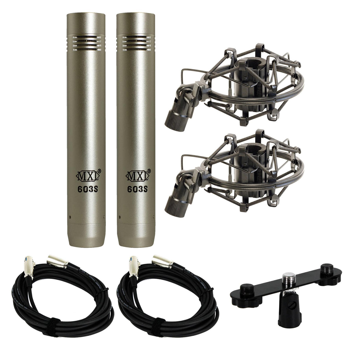 MXL 603 Microphone Stereo Pair Bundle with 2 20-foot XLR Cables & Stereo Bar